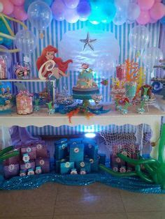 mermaid the sea balloon arch cake table decoration ideas from
