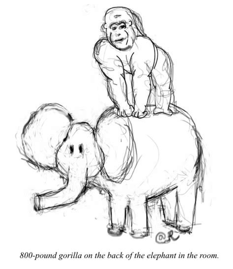 elephant in the room metaphor mixed metaphor doodle 800 lb gorilla on the back of the elephant in the room rexblog