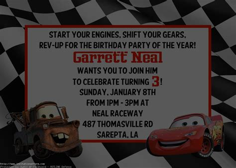 Cars Invitation Cards Templates by Cars Birthday Invitations Template Free Free Invitations