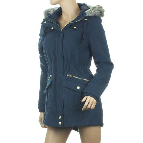 Pull Fur Navy Maroon Jacket Wanita ex blue inc parka coat womens jacket winter faux fur navy ebay