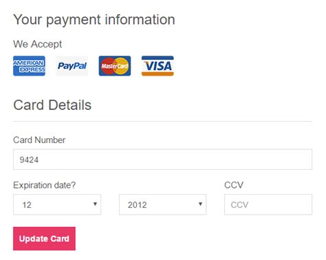 Credit Card Information Form php how can i show user credit card to the payment