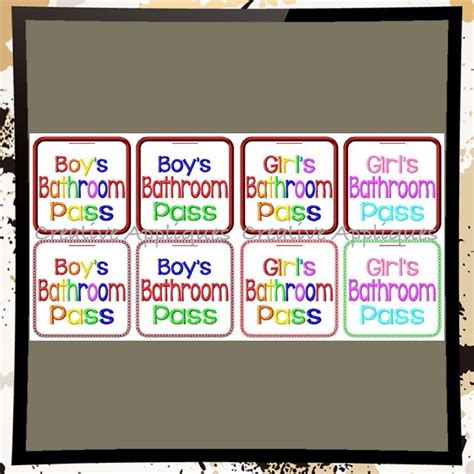 boys bathroom pass boys and girls bathroom pass set