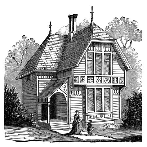 house of vintage two story victorian cottage free clip art image old