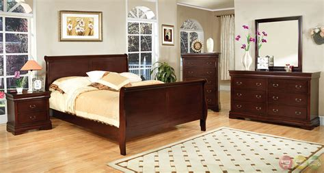 cherry wood sleigh bedroom set louis philippe iii traditional cherry sleigh bedroom set