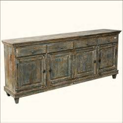 Reclaimed wood 83 quot long large shaker sideboard storage buffet cabinet