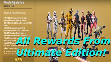 fortnite founders pack fortnite all rewards from ultimate edition founder s