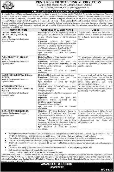 Punjab Technical Distance Mba by Punjab Board Of Technical Education Lahore 2012