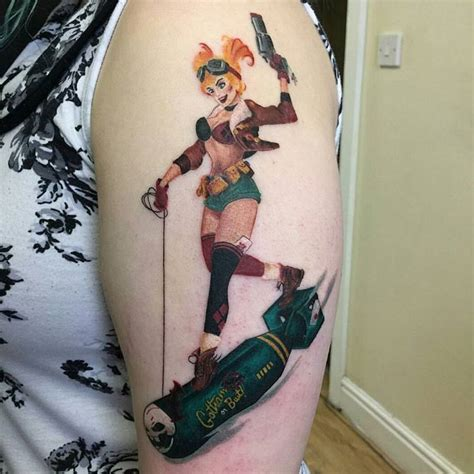 harley quinn pin up tattoo harley quinn on left half sleeve by reed