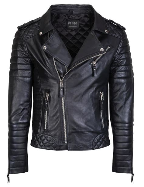 mens black leather motorcycle jacket boda skins kay michaels quilted biker 660 apparel