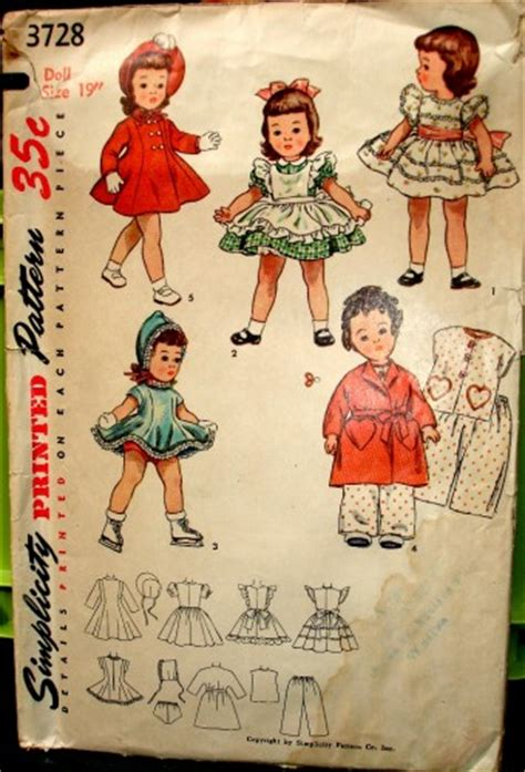 simplicity 3728 vintage doll clothing pattern