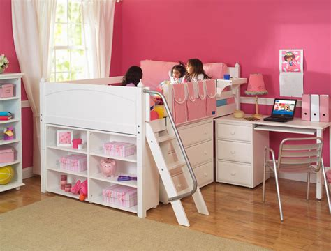 girl loft beds girl s storage bed with desk by maxtrix kids white 606
