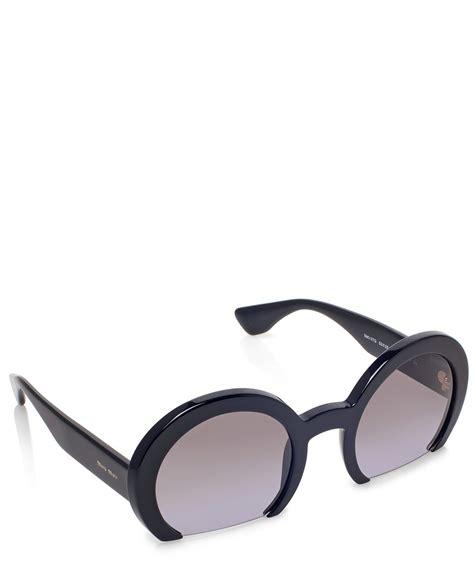 Sunglass Miu Miu Mds958 2 lyst miu miu black half frame sunglasses in black