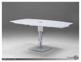 Glass Top Dining Table White Base Ovum Dining Table Extending In White Glass Top And