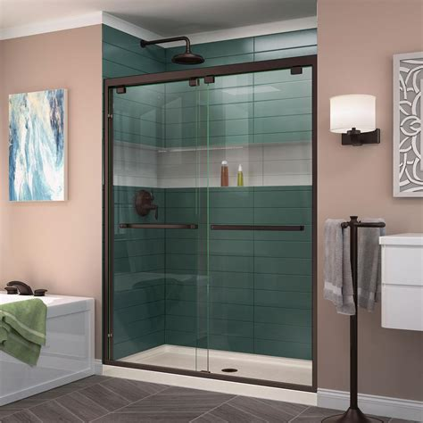 What Is A Bypass Shower Door Dreamline Encore 56 In To 60 In X 76 In Frameless Bypass Shower Door In Rubbed Bronze
