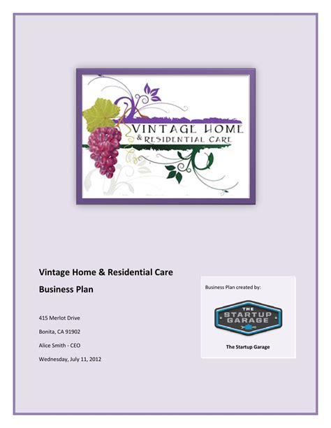 vintage home and residential care business plan by the