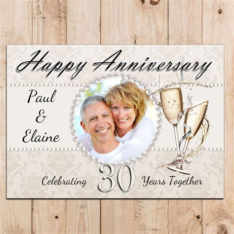 Wedding Anniversary Wishes Posters by Personalised Pearl 30th Wedding Anniversary Photo