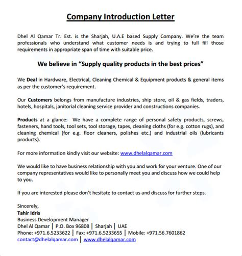 Introduction Letter For Company Sle Business Introduction Letter 14 Free Documents