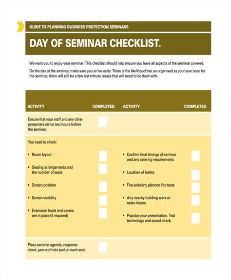 seminar checklist templates 6 free word pdf format