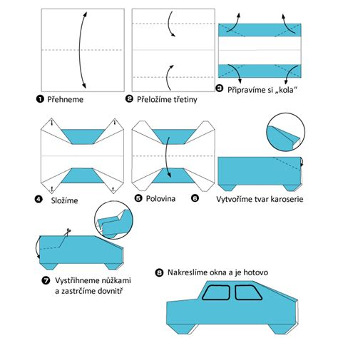 Origami Auto origami auto předškol 225 ci omalov 225 nky pracovn 237 listy