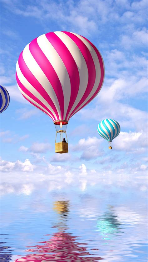 wallpaper hot air balloons colorful reflections clouds