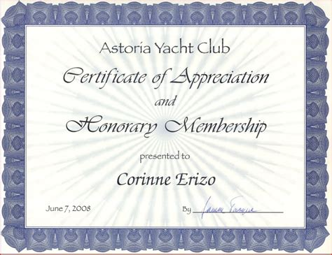 honorary life membership certificate template Quotes