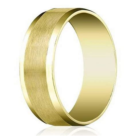 14k Yellow Gold Mens 6mm Comfort Fit Wedding Band by S Designer 6mm Beveled Edge Satin Finish Comfort Fit