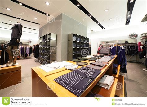 european clothing store with collection stock image