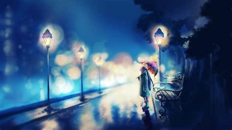 wallpaper anime girl alone original umbrella red alone girl blue anime wallpaper