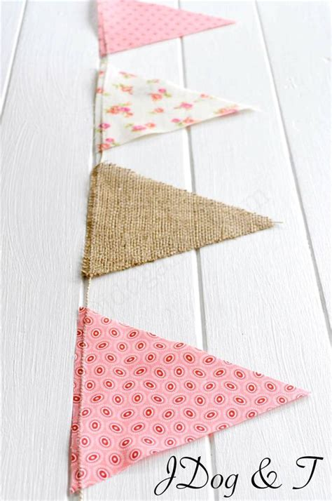 hessian floral fabric bunting rustic vintage shabby chic