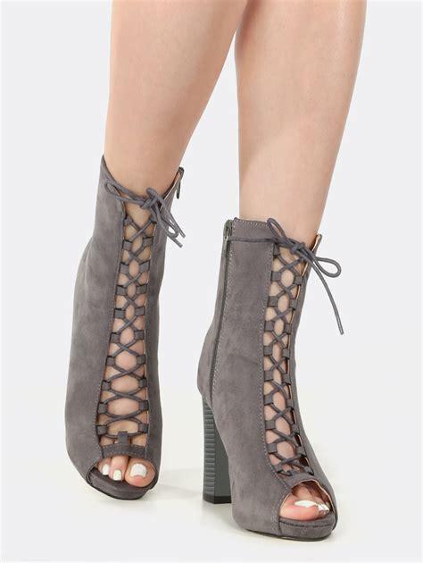 Chunky Heel Lace Up Shoes peep toe lace up chunky heel booties grey makemechic