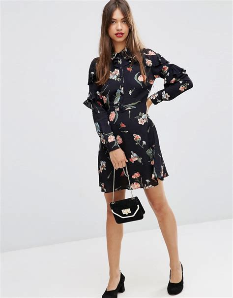 Ruffle Sleeve Vintage Dress asos asos tea dress with ruffle sleeve in vintage floral