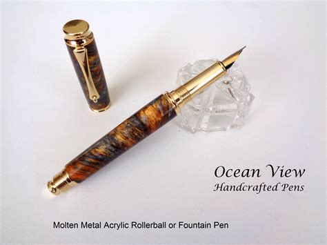 Handcrafted Pen - handcrafted molten metal acrylic rollerball or