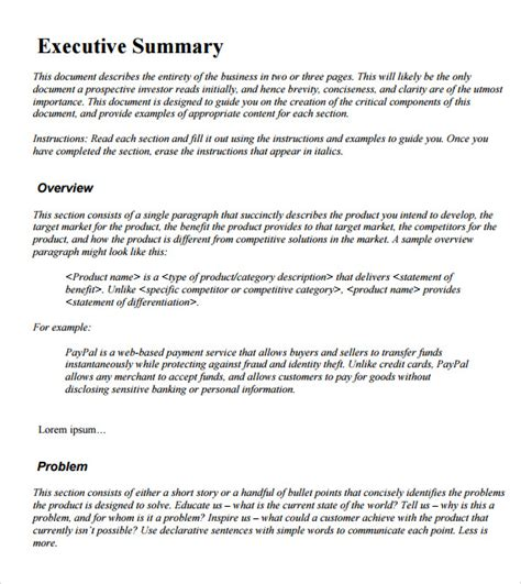 business executive summary template sle executive summary template 12 documents in pdf