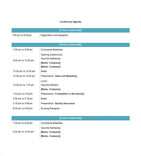 templates for agenda in word 8 conference agenda templates free sle exle