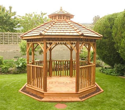14 Cedar Wood Gazebo Designs   Octagon, Rectangle, Hexagon and Oval Styles