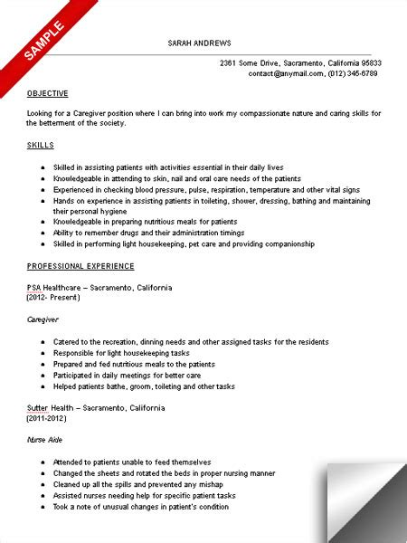 in home caregiver resume sles caregiver resume sle