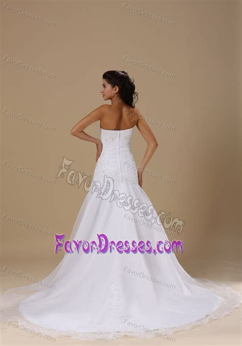 appliqued organza and taffeta simple wedding dresses with