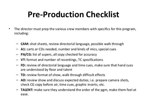 pre production checklist template basics of tv production