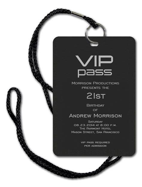 Vip Pass Corporate Invitations By Invitation Consultants Item Cb Sbf Dld B Wedding Vip Name Tag Template