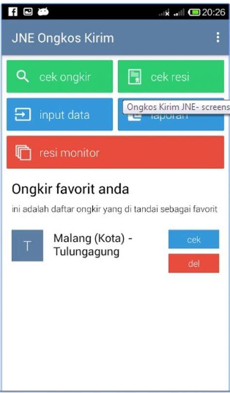 aplikasi cek ongkos kirim barang via jne di android