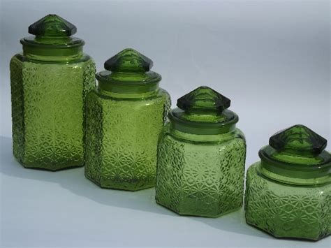 green canister sets kitchen vintage green glass daisy button kitchen counter