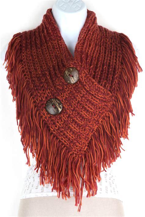 fringe knitting knitted button infinity fringe scarf scarves