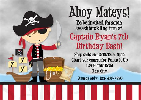 printable birthday card pirate printable birthday invitations little boys pirate party