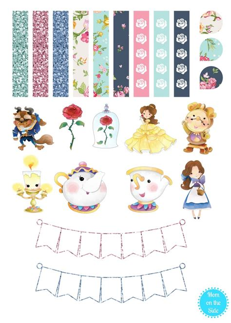 printable version of beauty and the beast printable beauty and the beast planner stickers mom on