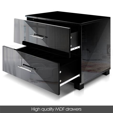 bedside table cabinet high gloss chest 2 drawers l side bedside table cabinet high gloss chest 2 drawers l side