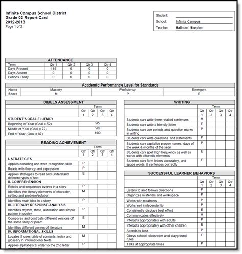 standards based report card template standards based report card preferences infinite cus