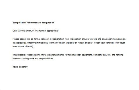 Resignation Letter For Immediate Effect immediate resignation letter template 8 free word