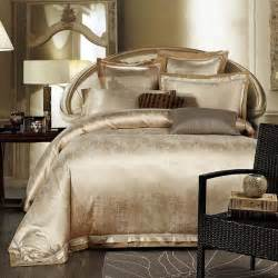 gold white blue jacquard silk bedding set luxury 4pcs