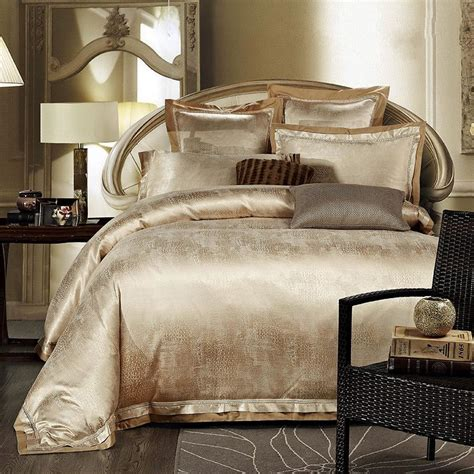 Gold Bed Set Gold White Blue Jacquard Silk Bedding Set Luxury 4pcs Satin Bed Set Duvet Cover King