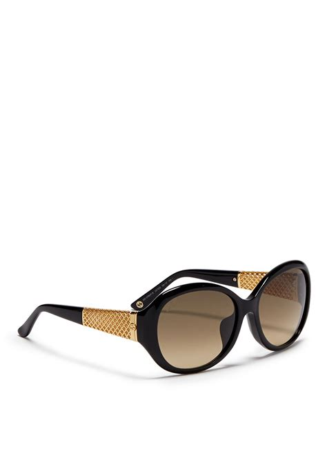 Gucci 383 Black Gold gucci gold plated chunky lattice temple acetate sunglasses in black lyst